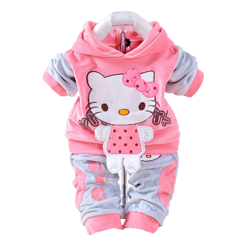 New 2017 Autumn Baby Kids Set Velvet Hello Kitty Cartoon T Shirt Hoodies Pant Twinset Long Sleeve Velour Children Clothing Sets купить