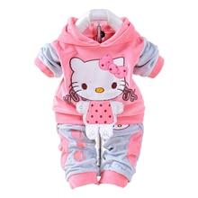 New 2017 Autumn Baby Kids Set Velvet Hello Kitty Cartoon T Shirt Hoodies Pant Twinset Long