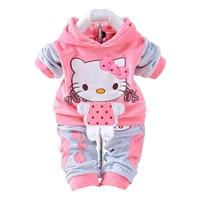 New 2015 Autumn Baby Kids Set Velvet Hello Kitty Cartoon T Shirt Hoodies Pant Twinset Long