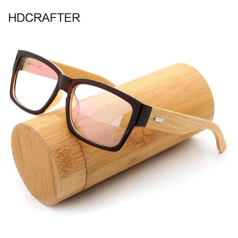 8e2b383de5 HDCRAFTER Wooden Eyeglasses Frames Men Oversized Bamboo Glasses Frame  Rectangle Spectacles Reading Optical Glasses Frames