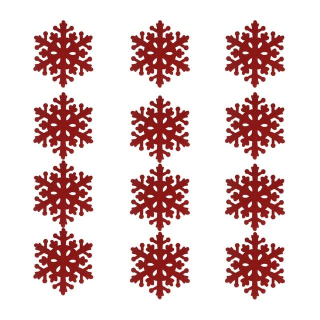 12 unids/lote Tela Decoración De Navidad Copo de Nieve Rojo Tapete ...