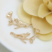 6PCS 16.5x34MM 24K Champagne Gold Color Plated Brass 2 holes Tree Branchs and Birds Charms Pendants High Quality Accessories