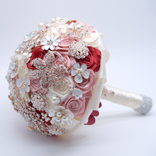 Wedding Bouquet Brides Bouquets Flowers Ramos Para Bodas Royal Brooches White Bridal Prom Pink Hand Flower Blue Crystal Pearls