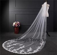 3m*1.5m White Ivory Wedding Veils Long Lace Edge Bridal Veil with Comb Wedding Accessories Bride Veu Wedding Veil Mingli Tengda