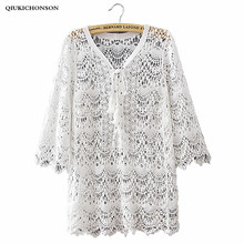 Qiukichonson Long Lace Shirts Women Summer Boho Tops Ladies Sweet Cute Hollow Out Crochet Lace Up Lace Blouses Beach Cover Up