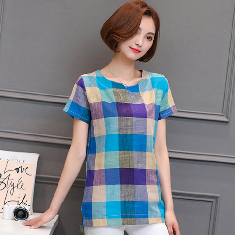 Women Casual Cotton linen Plaid shirt Loose Women's clothing Short-sleeved blouse chemise femme tops