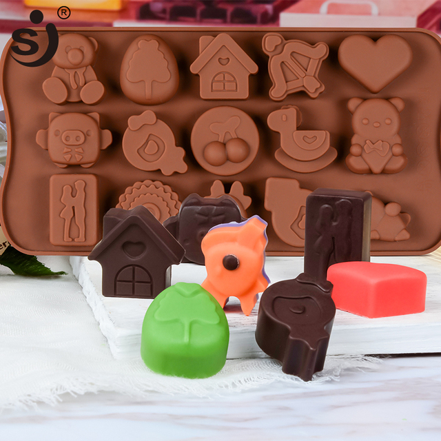 New Silicone Chocolate Mold 24Shapes Chocolate Baking Tools Non-stick Cake Mold Jelly&Candy Mold 3D Mold Decoration DIY Hot Sale 2