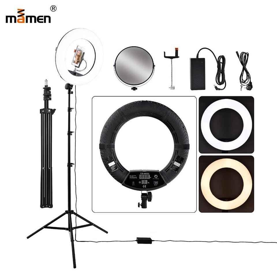 18 pouces photographie anneau lumière Dimmable 5500 K LED anneau lampe avec trépied/écran LCD/miroir pour caméra Photo vidéo YouTube en direct