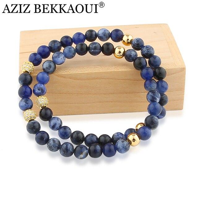 Natural Stone Beads Bracelet  with Zircon Charms Multilayer Bracelets for Women Lapis Lazuli Stone Beaed Bracelet for Men Male