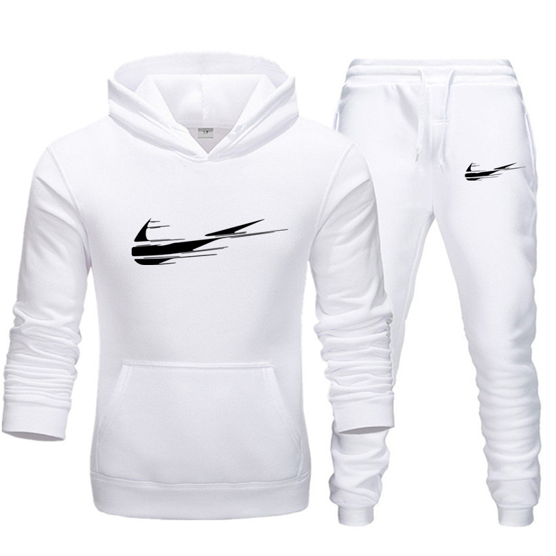 Sweatshirts+Sweatpants Suits Fleece Hooded Pullover Fashion Brand Hoodies Sweatshirt Men/Women Hoodie Tracksuit Sport Suit