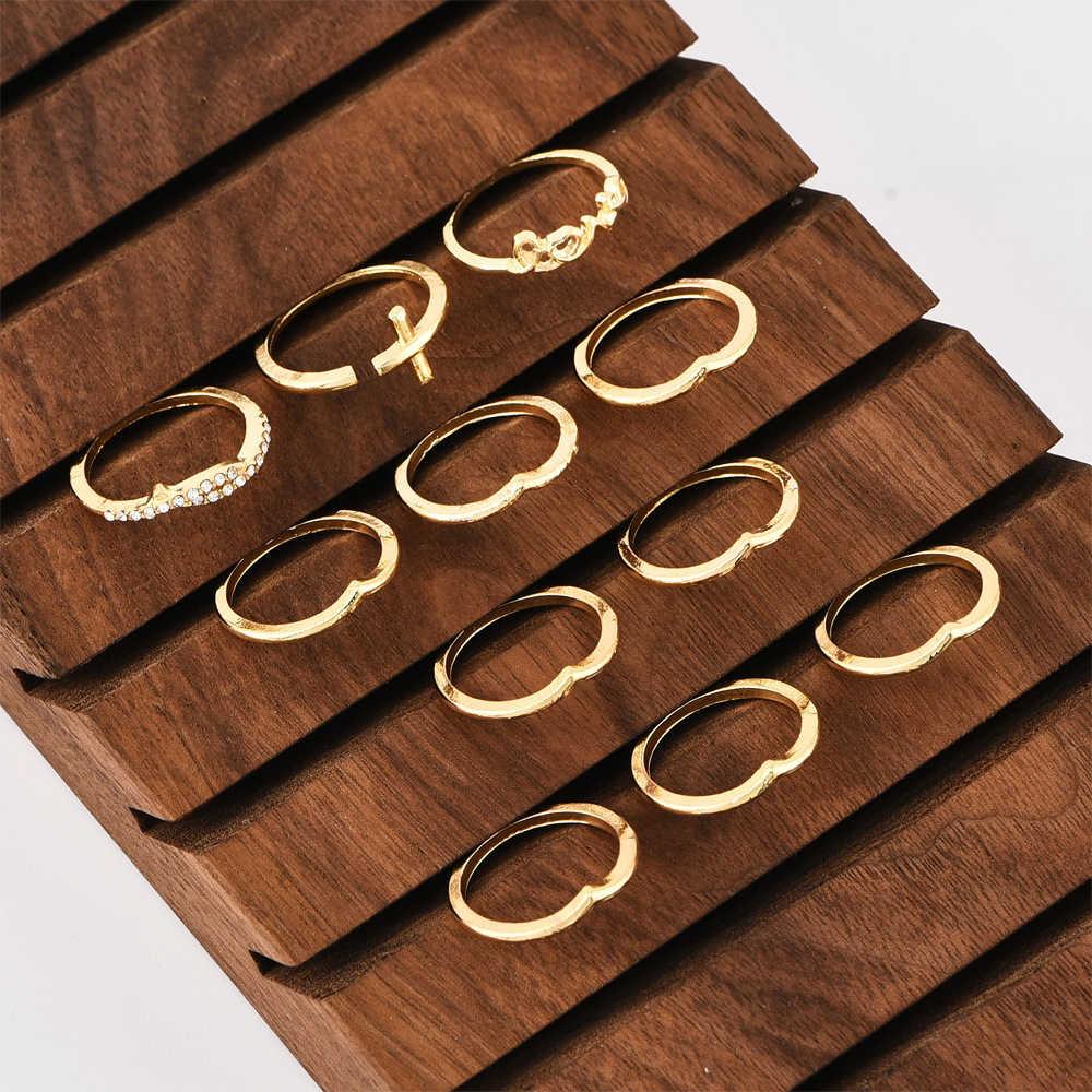 Boho золото-миди с геометрическим рисунком, набор колец для женщин, новинка в винтажном стиле с украшением в виде кристаллов в форме сердца со штриховыми рисунками; Забавная кольца стрелы женский 2020 ювелирные изделия