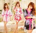 Sexy Flor Floral Japonês Kimono Vestido Lingerie Banho Vestir Vestido Pijamas Sauna Costume #5814
