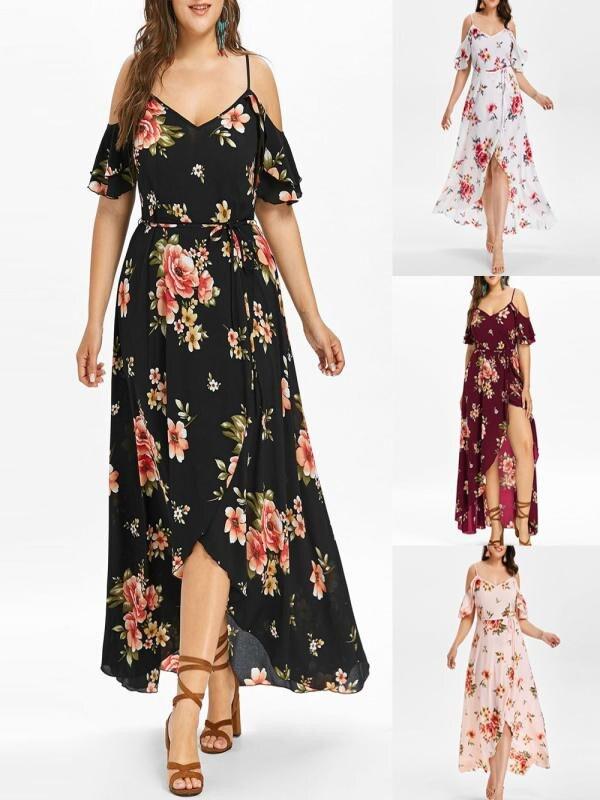 Women's Long dress chiffon Short Sleeve off-Shoulder Boho beach Print Flower summer dress plus size long dress vestido *N