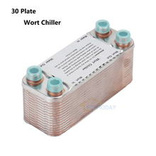 30 Plate Wort Chiller Stainless Steel 304 Home Brewing Homebrew Heat Exchanger 1/2 Garden Hose Thread With
