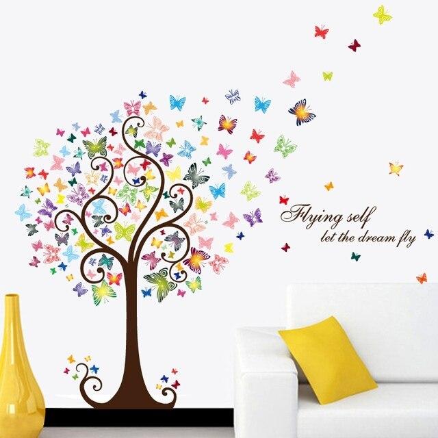romantische schmetterling baum abnehmbare wandaufkleber schlafzimmer wohnzimmer home diy pvc wandtattoos deko wandtattoo - Wandtattoo Wohnzimmer Baum