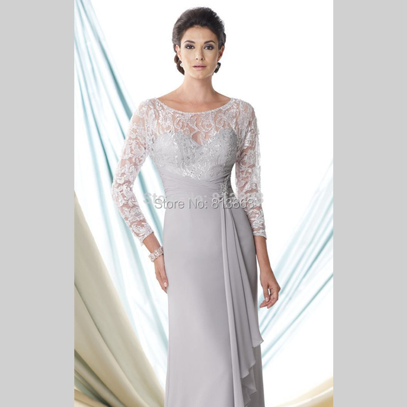 Aliexpress.com : Buy Silver Grey 3/4 Sleeves Long Evening Gown ...