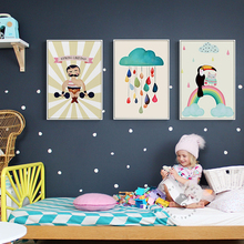 Nordic Style Cute Elephant Owl Canvas Painting Cartoon Animals Posters And Prints For Kids Cuadros Decoracion Infantil Wall Art