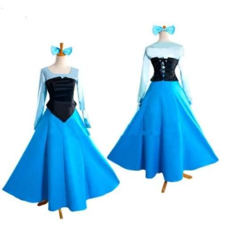Ariel Blue Dress The Little Mermaid Princess Cosplay Costume Adult Girls Cartoon Halloween Party princess ariel dress halloween costumes fancy the little mermaid ariel cosplay costume mermaid costume green party dress