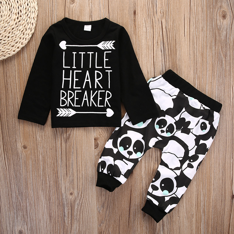 Fashion Newborn Infant Baby Boy Girl Little Heart Long Sleeve Clothing Set T-shirt Top+Panda Legging Pants 2pcs Outfit Set 4th july patriotic rwb stripe heart skirt white top shirt girl clothing set 1 8y mapsa0624