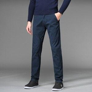 Image 3 - Pants Men Business Straight Cotton Trousers Stretch Man Elastic Slim Fit Casual Big Plus Size 42 44 46 Black Khaki Red Blue Pant