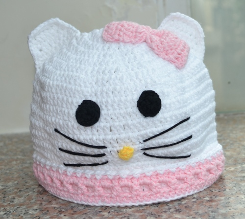 Free Shipping Wholesale Hello Kitty Hat Handmade Crochet Baby