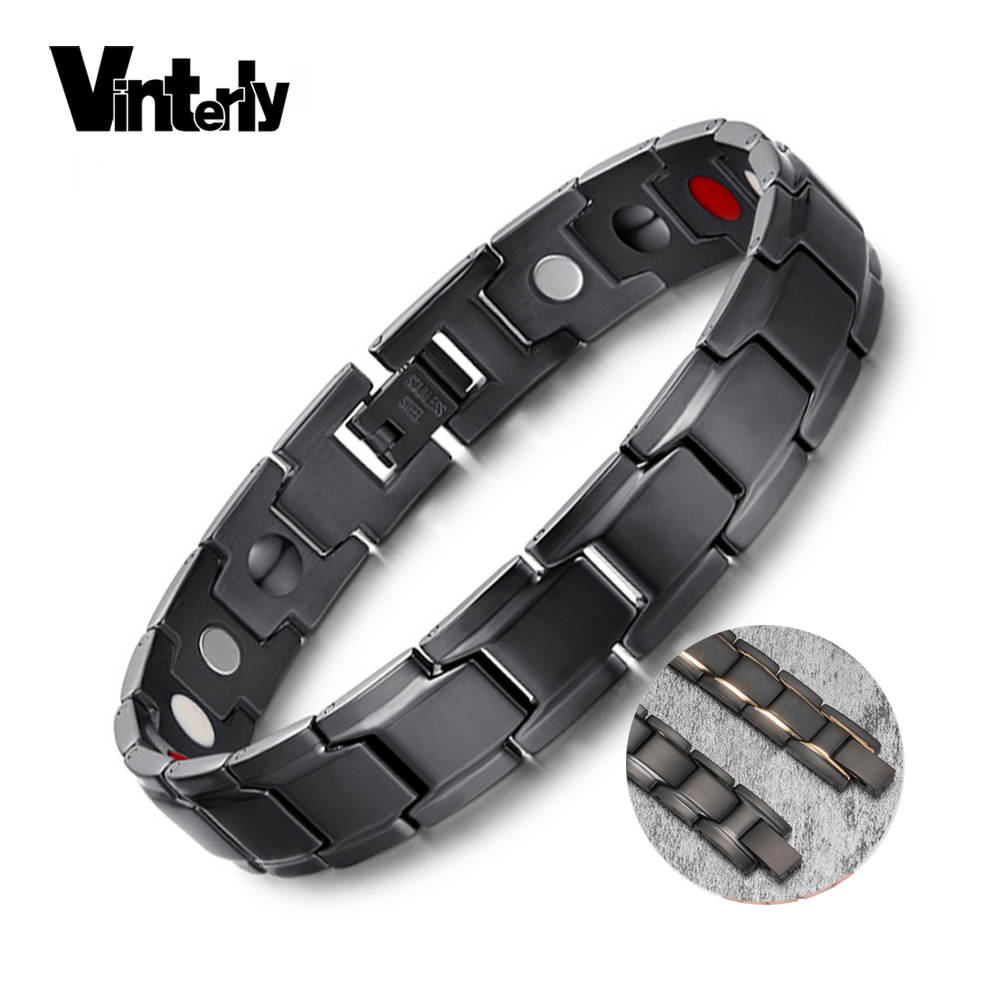 Vinterly Wrist Band Gelang Magnet Pria Stainless Steel Germanium - Perhiasan fashion