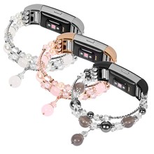 Women s Jewelry Bracelet for Fitbit Charge 2 Band Agate Stretch Wrist Strap for Fitbit Charge