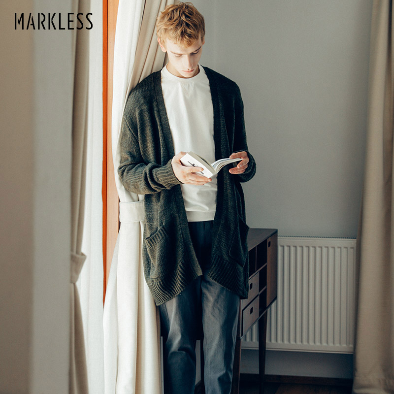 Markless V-neck Long Knitted Cardigans 2018 Autumn Winter Thick Warm Knitting Sueter Hombre Free Size Loose Casual Cardigans