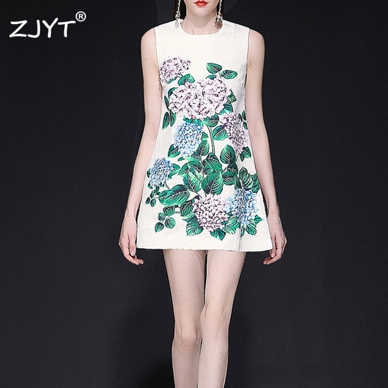 Fashion Runway Designer Summer Dress Women Elegant Sleeveless Floral Print Appliques White Casual Jacquard Mini Dress