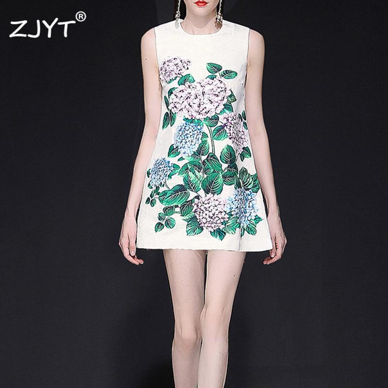 Fashion Runway Designer Summer Dress Women Elegant Sleeveless Floral Print Appliques White Casual Jacquard Mini Dress