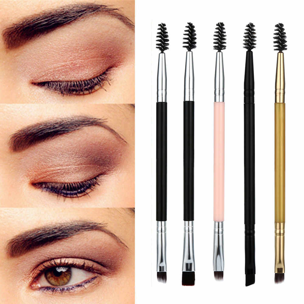 Women Facial Eye Makeup Brushes Cosmetic Eyebrow Brush Tool Double Head Wooden Handle Eyelashes Cheek Brush Comb #2