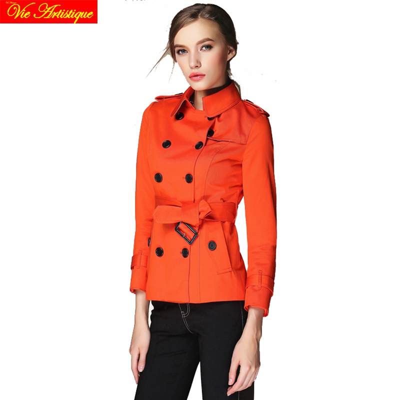 trench coat for women 2017 duster coats manteau femme grande taille spring winter cotton blend orange red beige short sexy fit