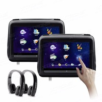 Monitor 10.1 HD Digital Screen Touch Screen Leather Cover Car Headrest DVD Player HDMI USB SD FM +2 IR Headphones