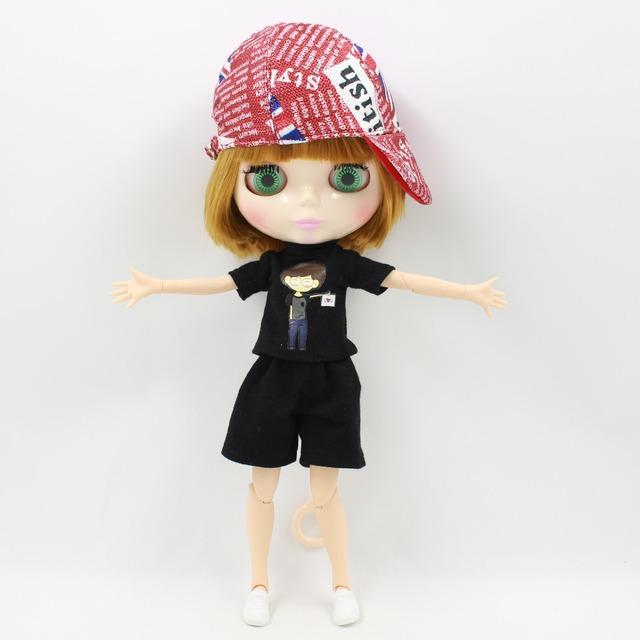 Neo Blythe Boneca Roupa Red Hat Preto Shorts