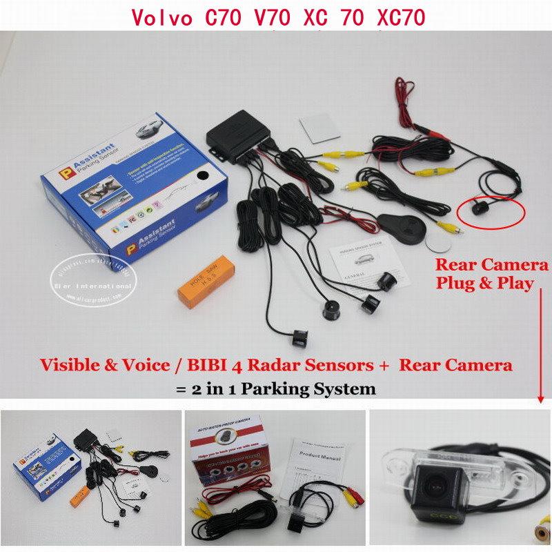 ФОТО For Volvo C70 V70 XC 70 XC70 - Car Parking Sensors + Rear View Back Up Camera = 2 in 1 Visual / BIBI Alarm Parking System