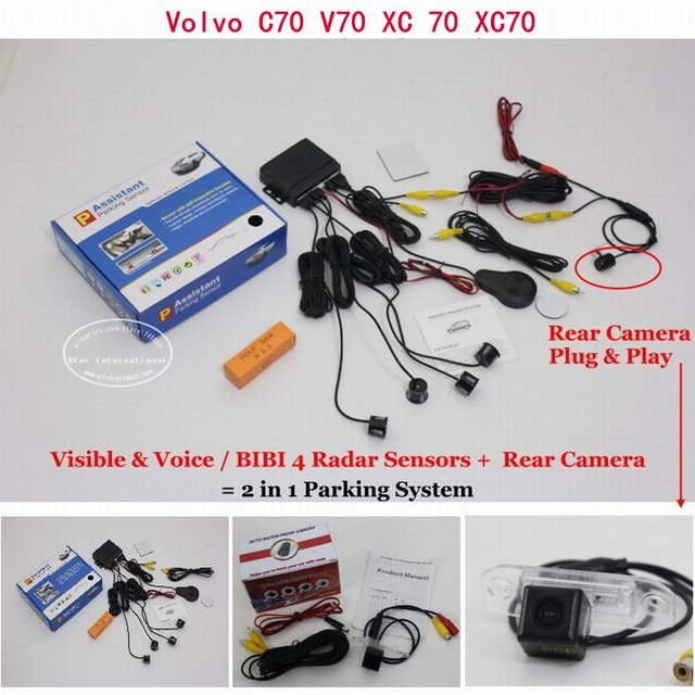 For Volvo C70 V70 XC 70 XC70 - Car Parking Sensors + Rear View Back Up Camera = 2 in 1 Visual / BIBI Alarm Parking System