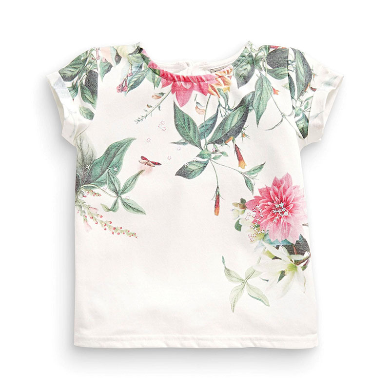 Little Maven New Summer Kids Clothing Short O-neck Chinese Floral Painting Printed Tee Knitted Cotton Girls Casual Tshirt