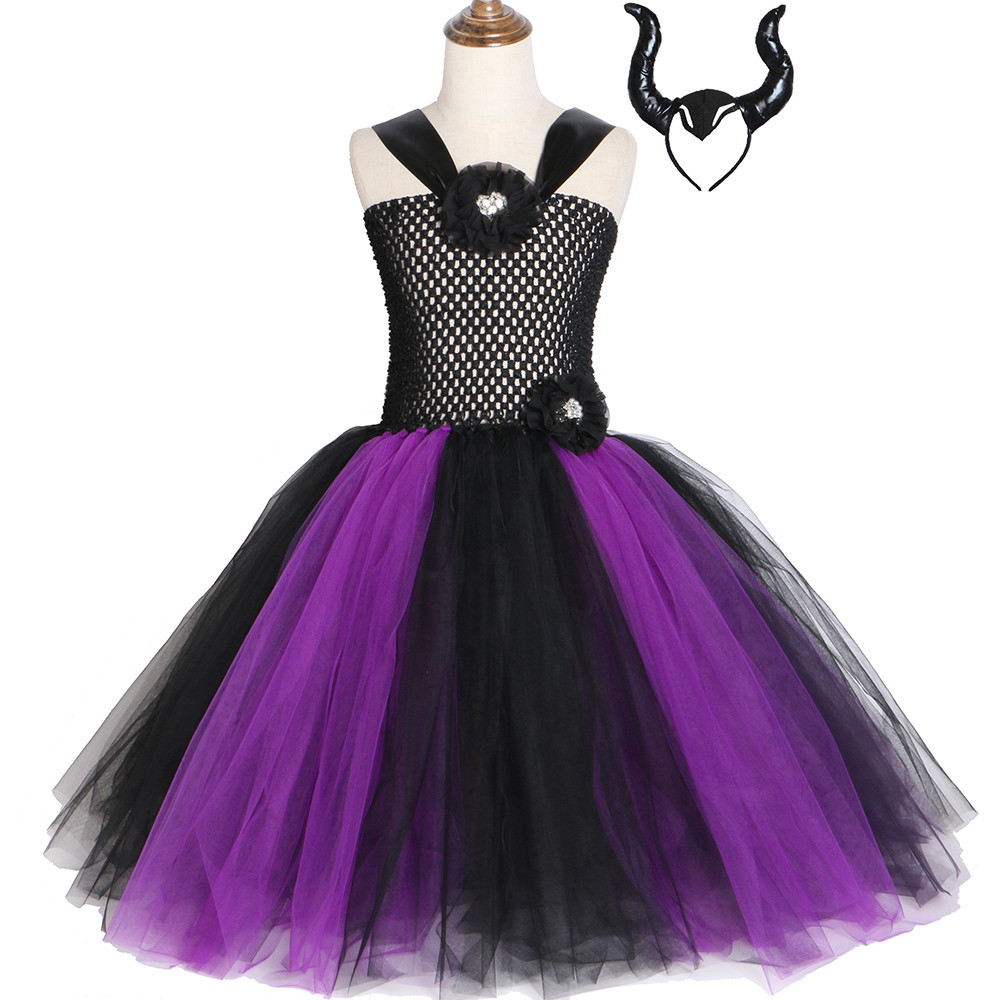 Maleficent Evil Queen Girls Tutu Dress Black Purple Children Cosplay Witch Costume Fancy Kids Girls Halloween Party Dress 2-12Y цена