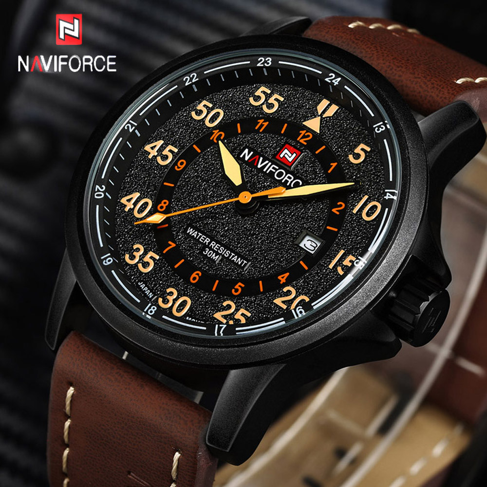 NAVIFORCE Mens Watches Top Brand Luxury Quartz Watch Men Waterproof Sport Military Watches Men Leather relogio masculino 2017  new crrju mens watches top brand luxury quartz watch men waterproof sport military watches men leather relogio masculino 2017