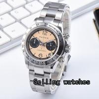 Parnis кварцевые часы с хронографом для мужчин лучший бренд класса люкс Бизнес водонепроницаемые сапфировые хрустальные наручные часы с оран