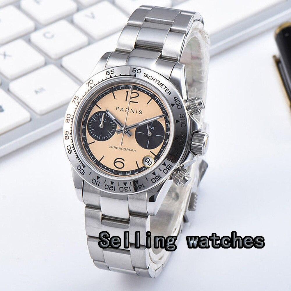 Parnis Quartz chronographe montre hommes Top marque de luxe affaires étanche saphir cristal montre-bracelet orange cadran montre pour hommes