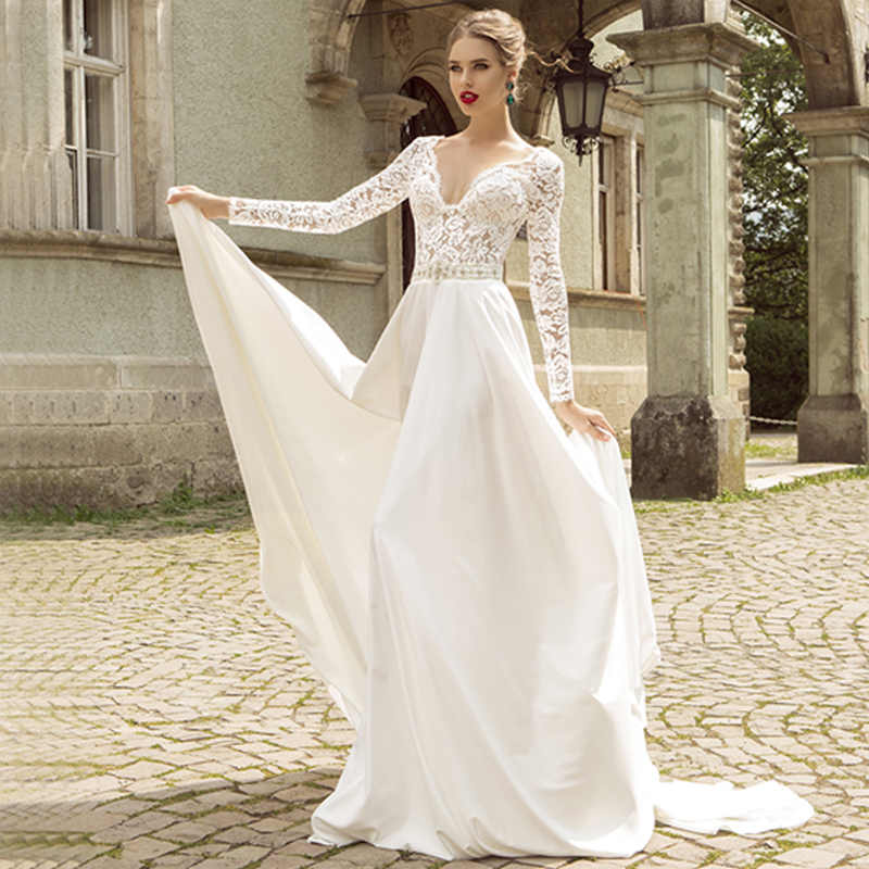 Vintage A Line Full Long Sleeve Wedding Dresses Cheap 2017