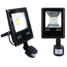Ультратонкий Светодиодный прожектор 10 Вт 20 Вт 30 Вт 50 Вт с датчиком движения PIR, водонепроницаемый прожектор, уличные лампы IP65