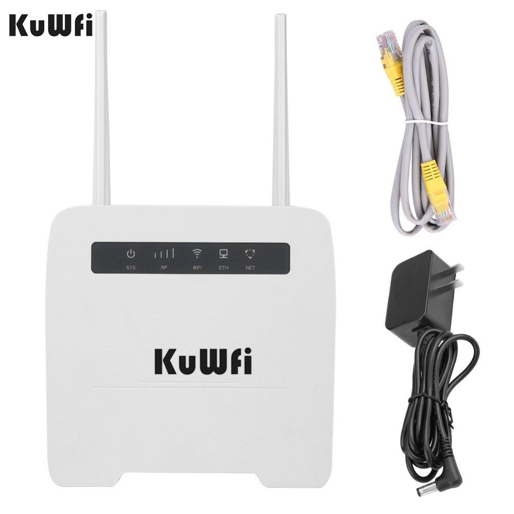 KuWfi 150Mbps CAT4 4G CPE Router 3G/4G LTE Wifi Router Suporte 4G para rede com fios Com RJ11 & RJ45Port até 32 Dispositivos Wi-fi