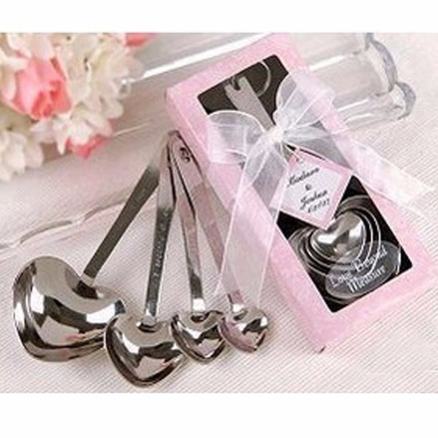 romantic wedding decoration heart measuring spoons wedding favors bridal shower wedding tableware favors with gift box