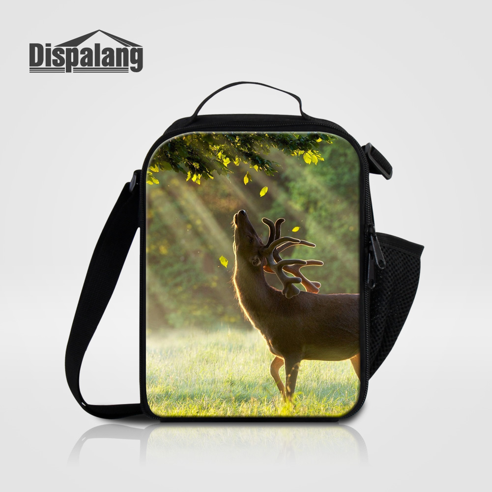 Dispalang kids lunch bag bolsa termica portable women lunch bags tote cute elk deer animal printing thermal insulated cooler bag