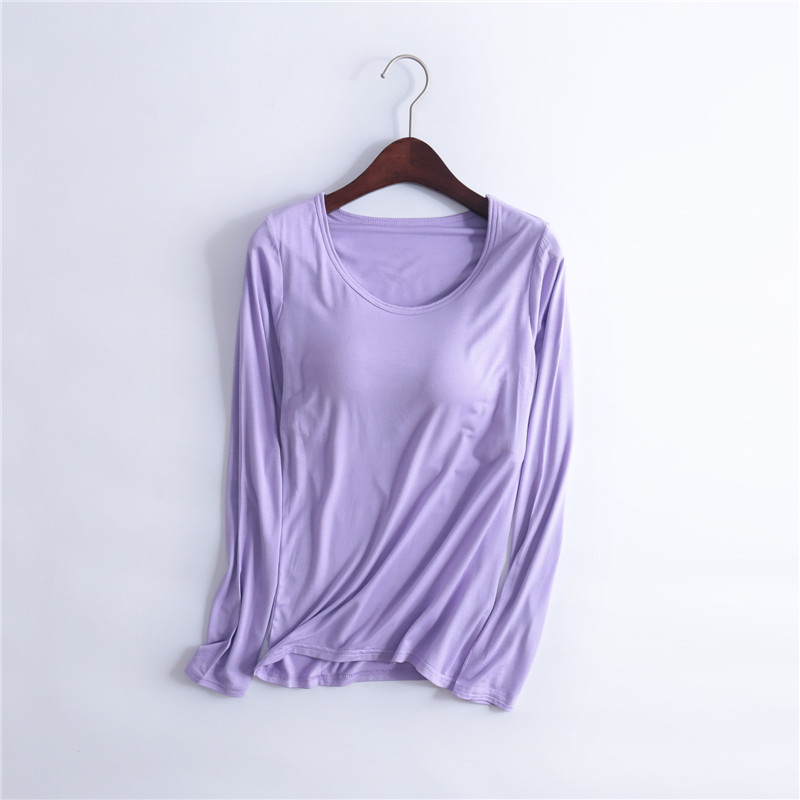CR Spring Autumn Basic T-shirt Women Long Sleeve O Neck Solid Padded Tee Shirt Build In Bra Casual Soft Breathable Tee Tops