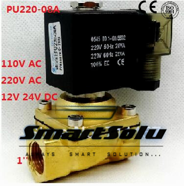 Free shipping Direct Drive 1 Solenoid Valve Model PU220-08A Brass Solenoid Valve Control Valve Water Air Oil new rotation solenoid valve kwe5k 31 g24ya50 for excavator sk200 6e