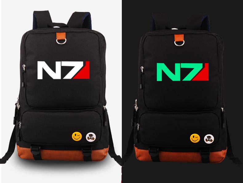 Japan Anime Mass Effect N7 cosplay Backpack Fashion Canvas Student Luminous Schoolbag Unisex Travel Bags anime resident evil cosplay backpack anime umbrella canvas bag luminous schoolbag travel bags