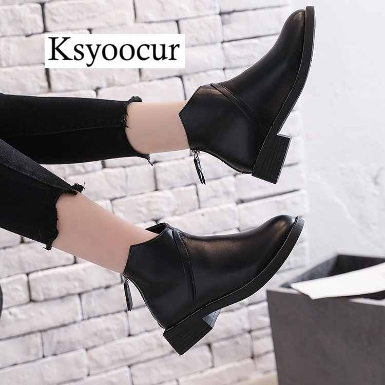 c5acb0639f6a Ksyoocur Back Zipper Black Ankle Boots for Women Warm Insole Women Boots  Mid Heel Autumn